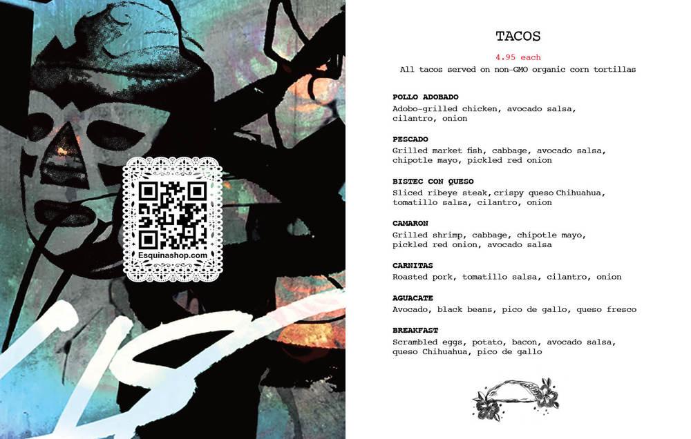 La Esquina NYC | Dine-In Menus | taquería food